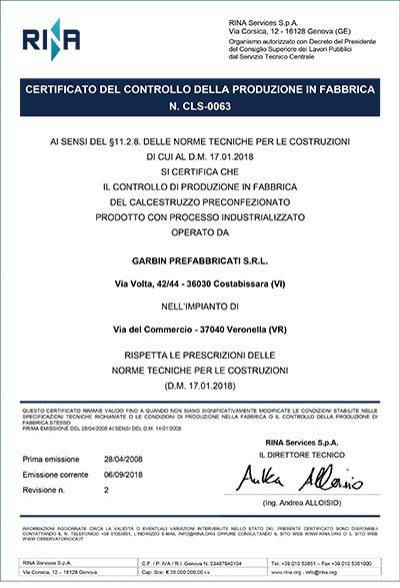 Certificato CLS-0063